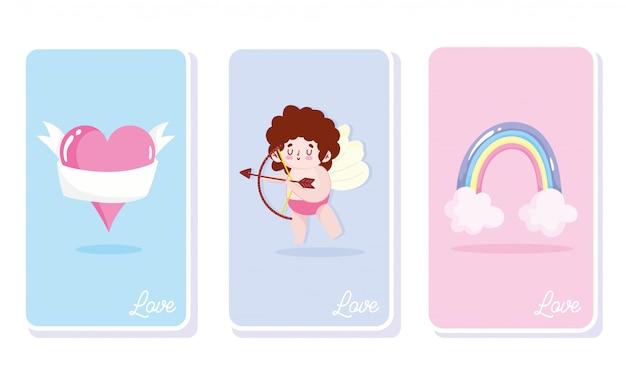 Cartes de dessin animé de célébration romantique arc-en-ciel coeur cupidon d'amour