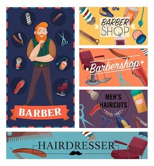 Cartes de dessin animé de salon de coiffure