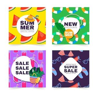 Cartes dessinées à la main de fête d'été colorée