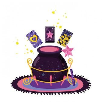 Cartes de divination avec chaudron de sorcière