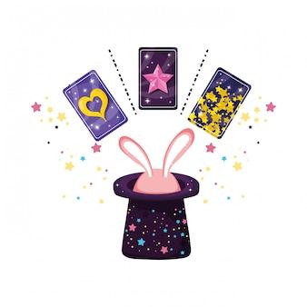 Cartes de divination avec oreilles lapin au chapeau
