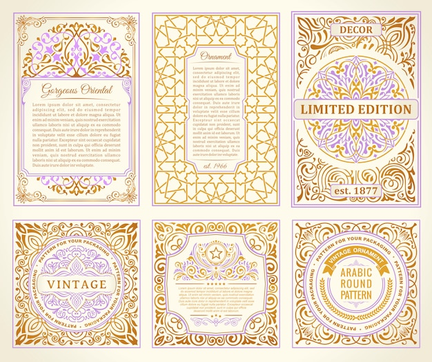 Cartes dorées vintage set