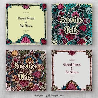 Cartes de douche de mariée avec des ornements floraux
