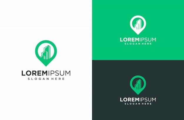 Cartes du bâtiment et du logo, illustrations vectorielles des bâtiments et combinaisons de cartes