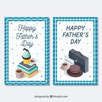 Cartes du grand jour du père avec des objets décoratifs