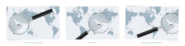 Cartes du monde abstrait bleu avec loupe sur la carte des emirats arabes unis
