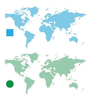 Cartes du monde abstrait rectangle et point