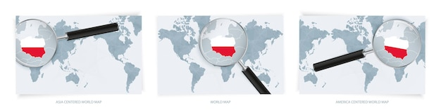 Cartes du monde abstraites bleues avec loupe sur la carte de la pologne avec le drapeau national