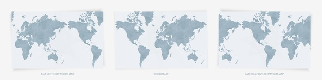 Cartes du monde centrées sur l'europe, l'asie et l'amérique. trois versions de cartes du monde bleues.