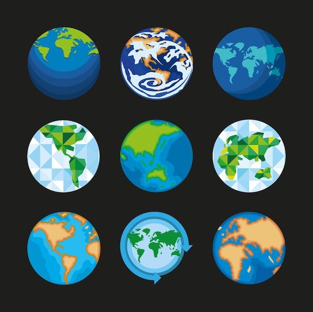 Cartes du monde du globe