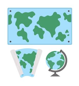 Cartes du monde vectorielles et illustration du globe. collection de signes de classe