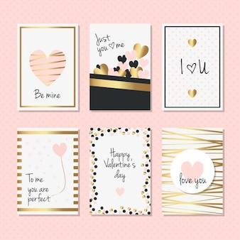 Cartes élégantes avec des détails dorés pour saint valentin