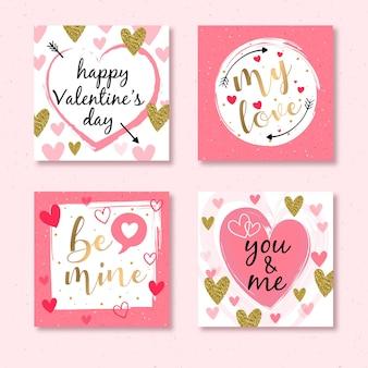 Cartes élégantes avec des détails dorés pour la saint valentin