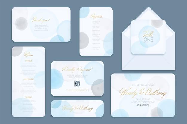 Cartes et enveloppes modèle de papeterie de mariage