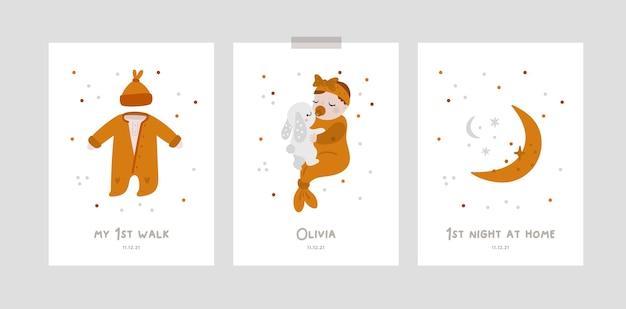 Cartes d'étape de bébé pour fille ou garçon nouveau-né baby shower print