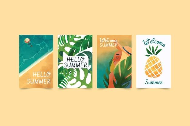 Cartes d'été aquarelle