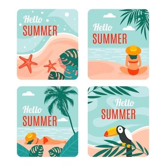 Cartes d'été au design plat
