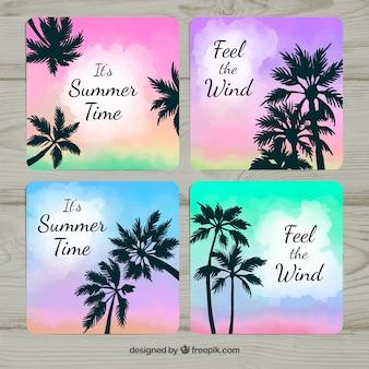 Cartes d'été dégradé avec palmiers silhouette