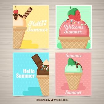 Cartes d'été avec délicieuses crèmes glacées