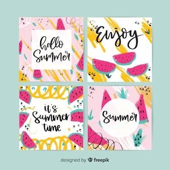 Cartes d'été dessinées à la main