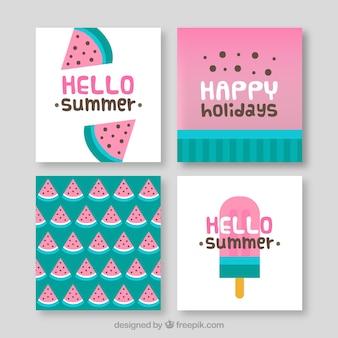 Cartes d'été avec des portions de crème glacée et de pastèque