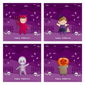 Cartes de fête d'halloween avec des enfants portant des costumes