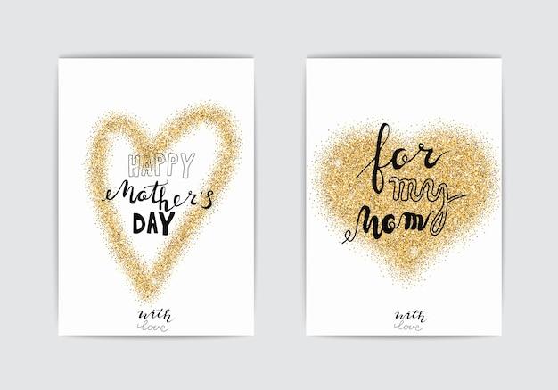 Cartes de fête des mères heureuses ensemble de vecteurs pour la fête des mères