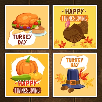 Cartes de fête de thanksgiving