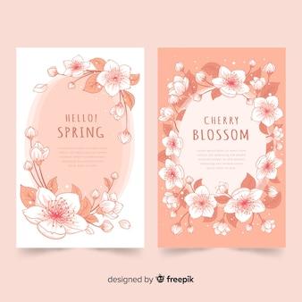 Cartes de fleurs de cerisier d'encre