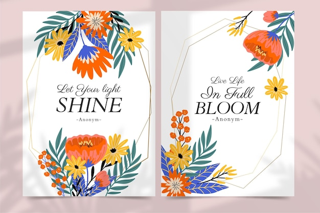 Cartes florales colorées dessinées à la main