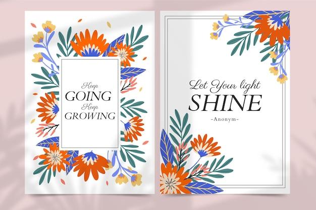 Cartes florales dessinées à la main