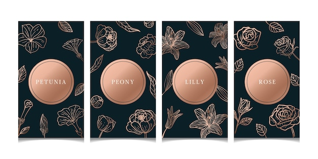 Cartes florales de luxe en or rose