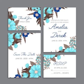 Cartes florales de modèle de mariage floral