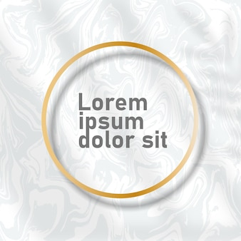 Cartes de fond en marbre avec des cadres de cercle doré. modèles à la mode pour bannière, flyer, affiche, réservez la date, salutation. illustration vectorielle