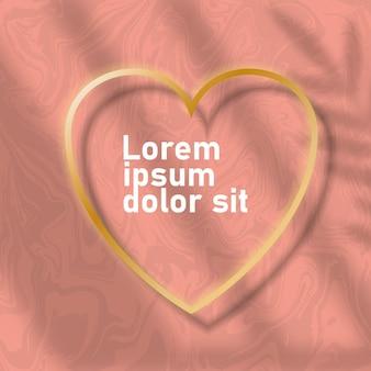 Cartes de fond en marbre avec cadres coeur doré. modèles à la mode pour bannière, flyer, affiche, réservez la date, salutation. illustration vectorielle