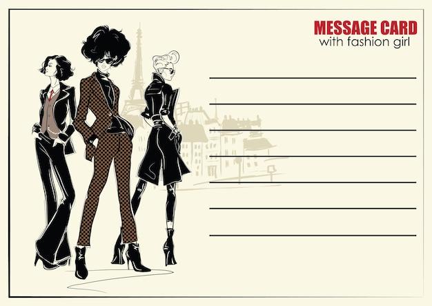Cartes fusiness avec mode femme. illustration de mode