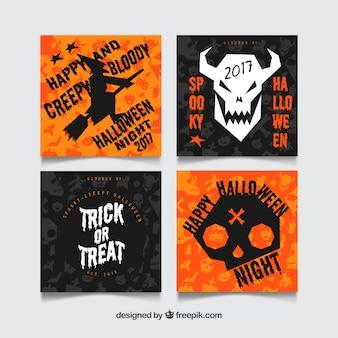Cartes de halloween avec un style effrayant