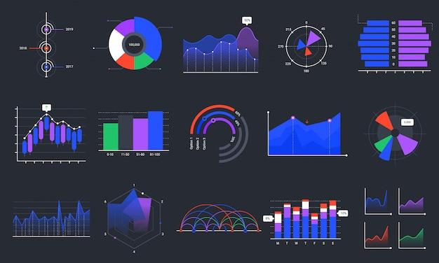 Cartes infographiques. graphiques de données colorés, tableau de bord de statistiques et ensemble de graphiques de présentation analytique. visualisation des données commerciales, graphique marketing sur fond noir. analyse des ventes