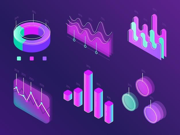 Cartes infographiques numériques de statistiques commerciales