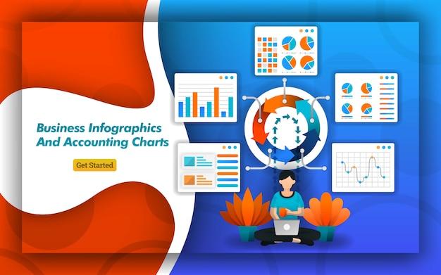 Cartes infographiques pour la comptabilité, les affaires et les présentations