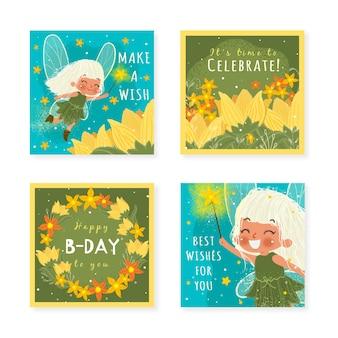 Cartes d'invitation d'anniversaire de fée dessinées à la main