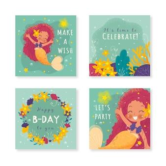 Cartes d'invitation d'anniversaire de sirène dessinées à la main