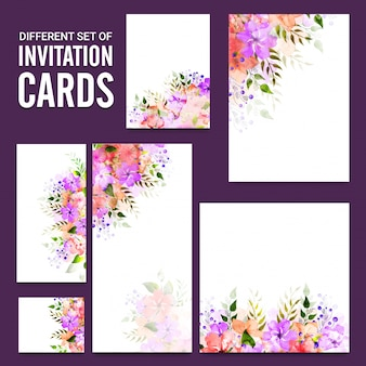 Cartes d'invitation avec de belles fleurs.