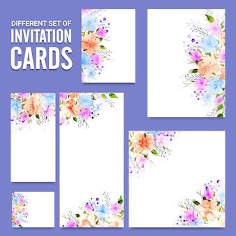 Cartes d'invitation composées de fleurs aquarelles colorées.