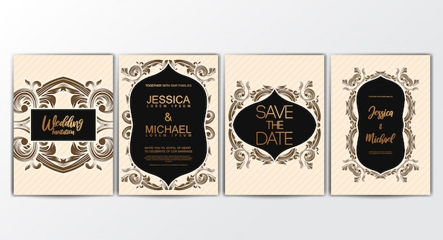 Cartes d'invitation avec concept luxueux