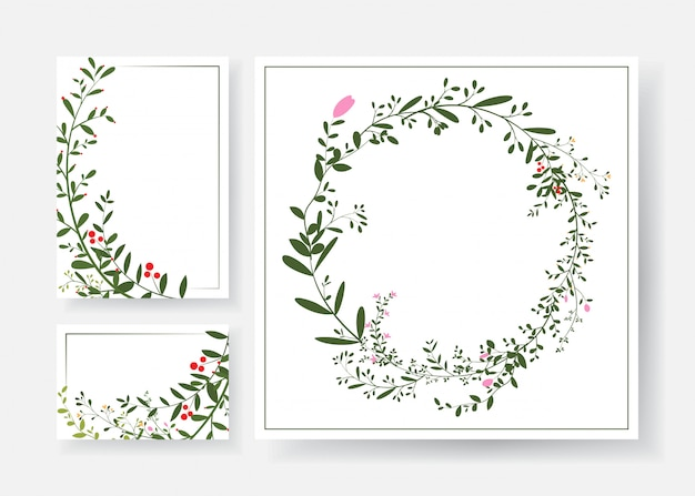 Cartes d'invitation avec couronne florale et branches