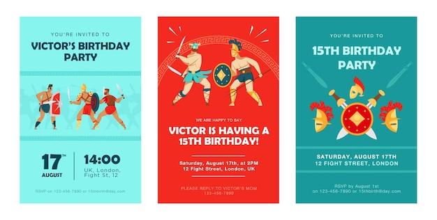 Cartes d'invitation élégantes avec des gladiateurs du colisée