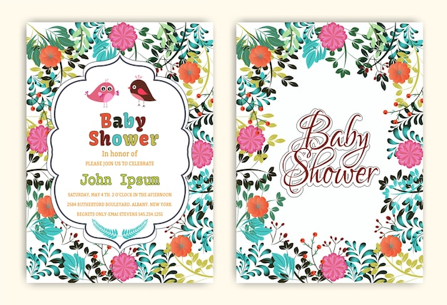 Cartes d'invitation de fête de douche de bébé