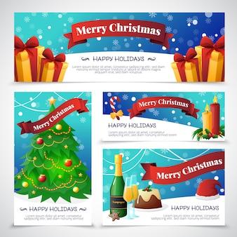 Cartes d'invitation de fête de noël design plat