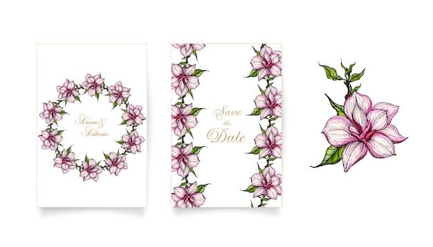Cartes d'invitation avec des fleurs de magnolia roses